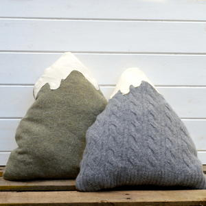 Upcycled Sweater Mountain Pillows