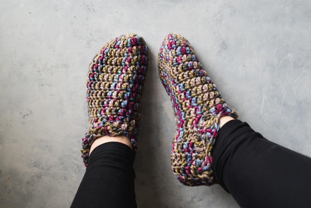 055b26276ec4b One Hour Crochet Slippers (Free Pattern) | AllFreeCrochet.com