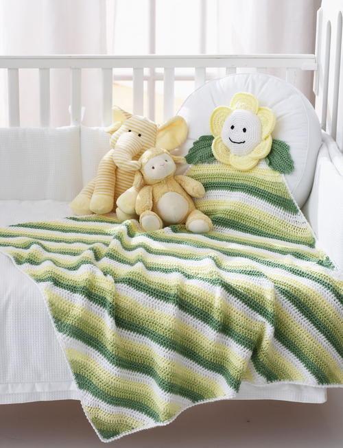 Crochet Daisy Baby Blanket Pattern : Natural Daisy Baby Blanket AllFreeCrochetAfghanPatterns.com