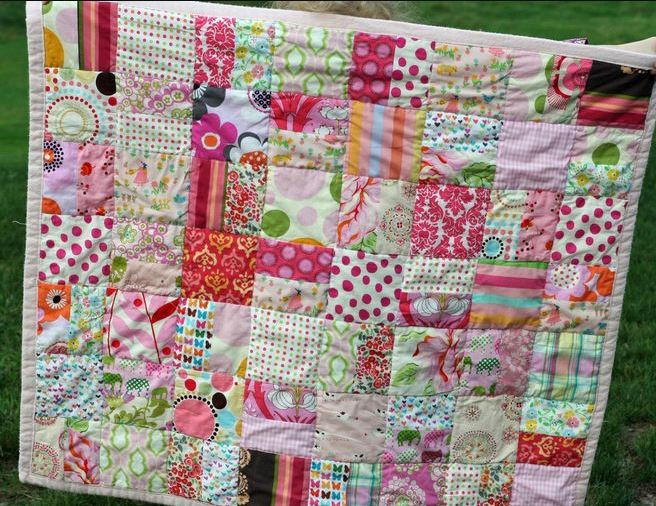One Color Scrappy Baby Quilt Favequilts Com