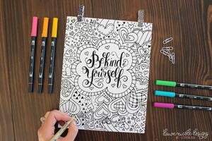 Be Kind to Yourself Heartfelt Coloring Page