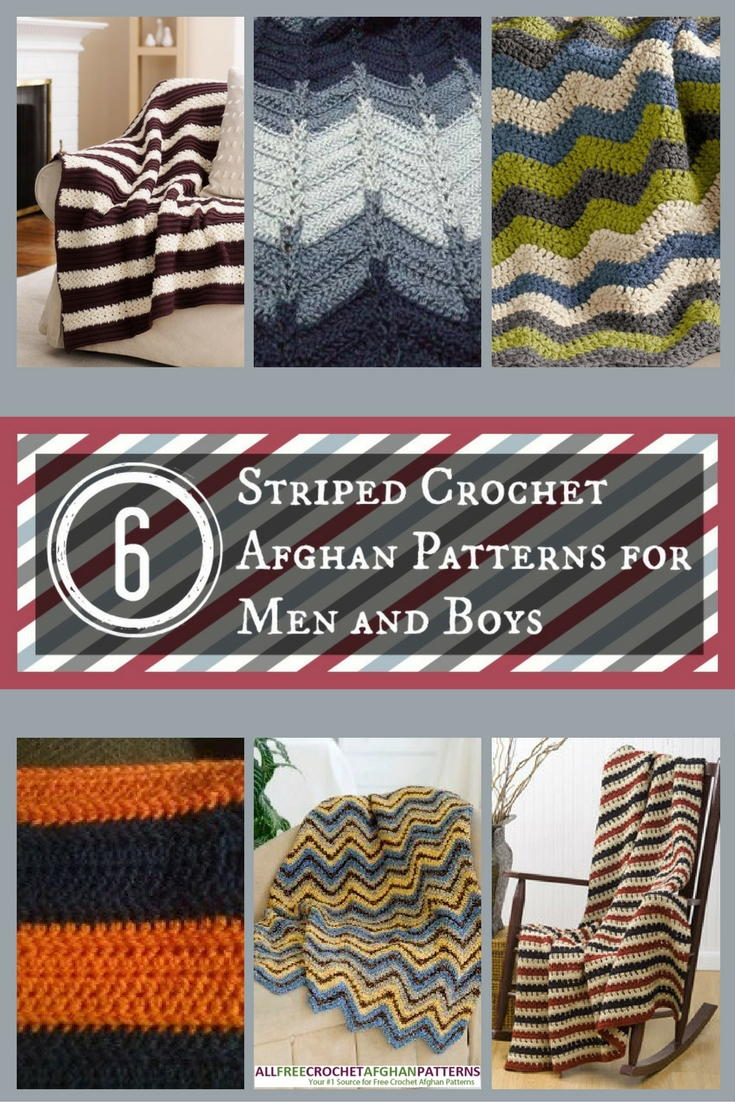 6 Striped Crochet Afghan Patterns For Men And Boys