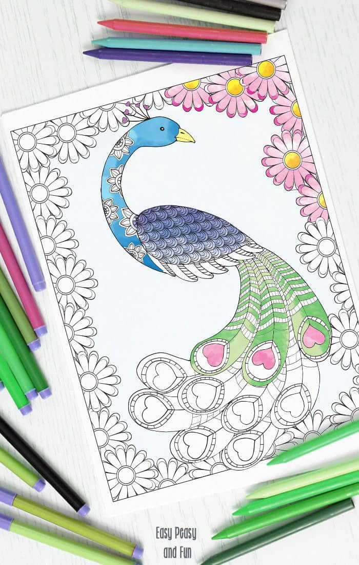 Love Peacock Adult Coloring Page FaveCrafts