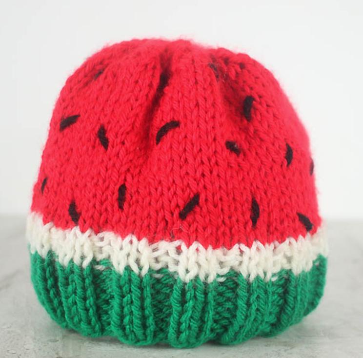 Winsome Watermelon Baby Hat Pattern Allfreeknitting Com