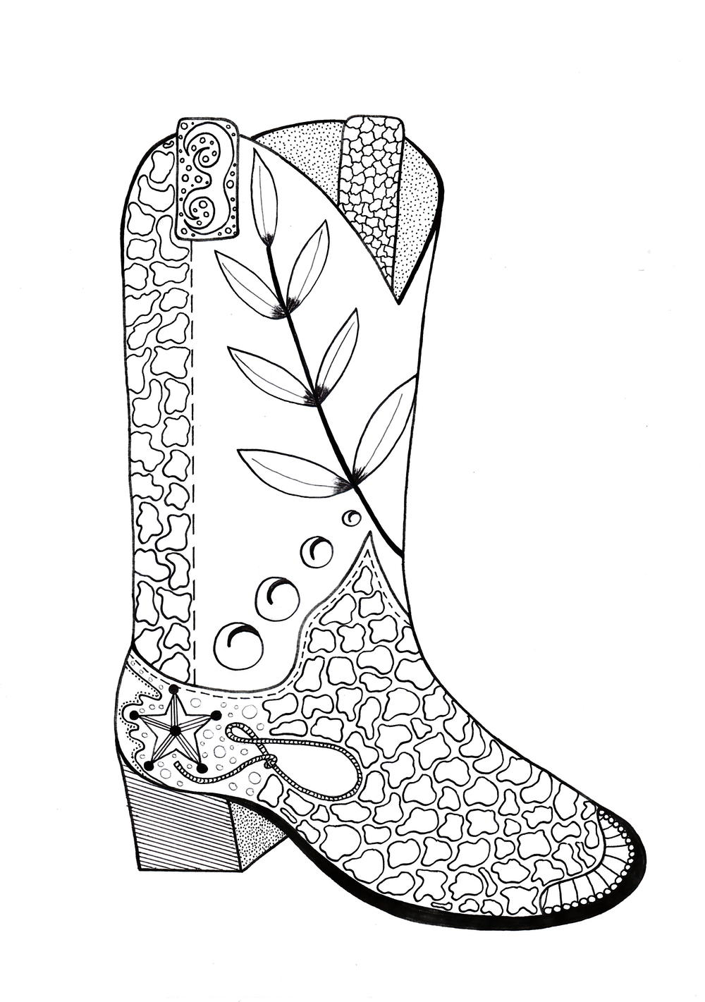 Cowboy Boot Adult Coloring Page FaveCrafts