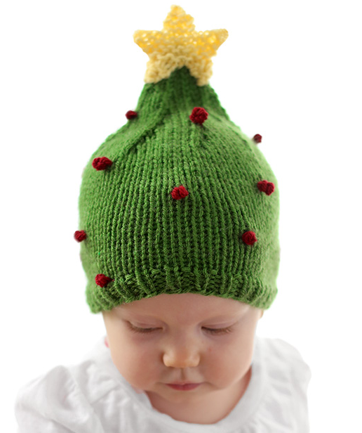 Christmas Tree Baby Hat Pattern | AllFreeKnitting.com