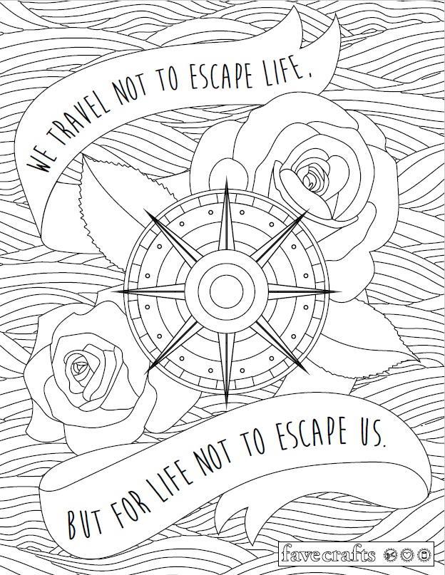 Travel Escape Adult Coloring Page | FaveCrafts.com