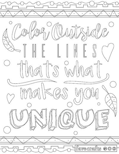 Color Outside the Lines Adult Coloring Page