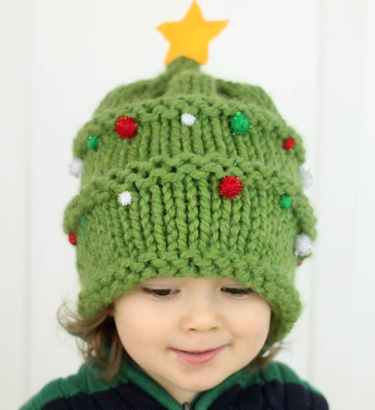Knitted Christmas Tree Baby Hat Pattern | AllFreeKnitting.com