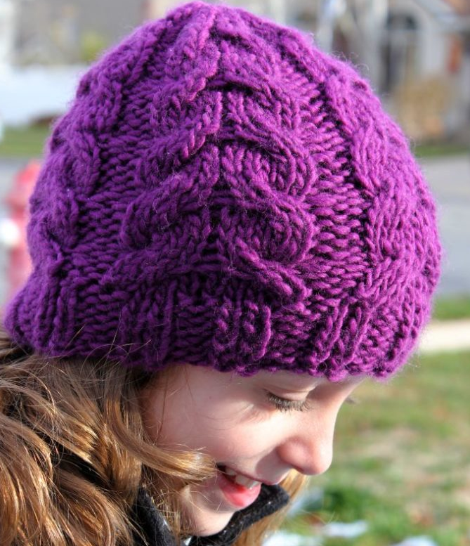 Warm And Chunky Cable Knit Hat Allfreeknitting Com