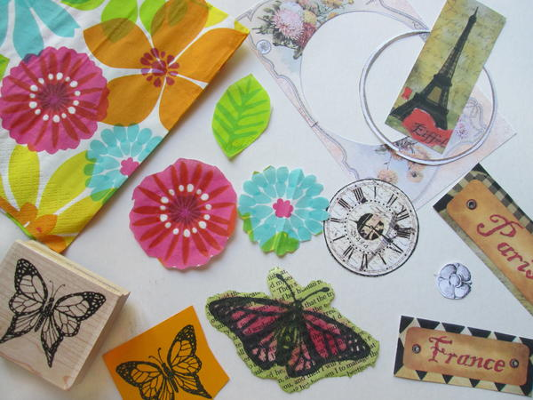 Examples of cut out images used for decoupage projects on glass and other non-porous surfaces.