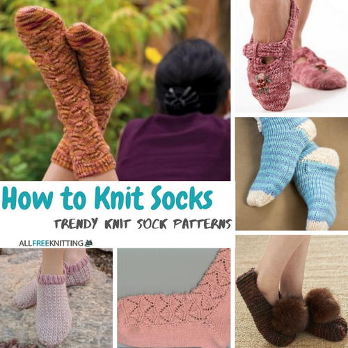 Knitting Pattern For Socks In The Round : Knitting in the Round: 10 Knit Sock Patterns and Knitted Slipper Patterns A...