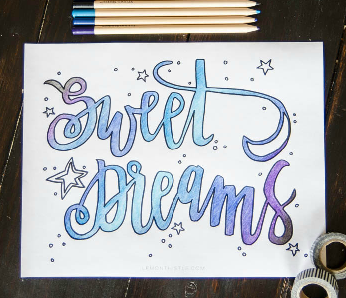 Sweet Dreams Printable Coloring