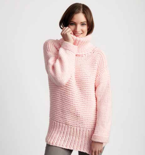 Chunky Turtleneck Easy Sweater Pattern | AllFreeKnitting.com