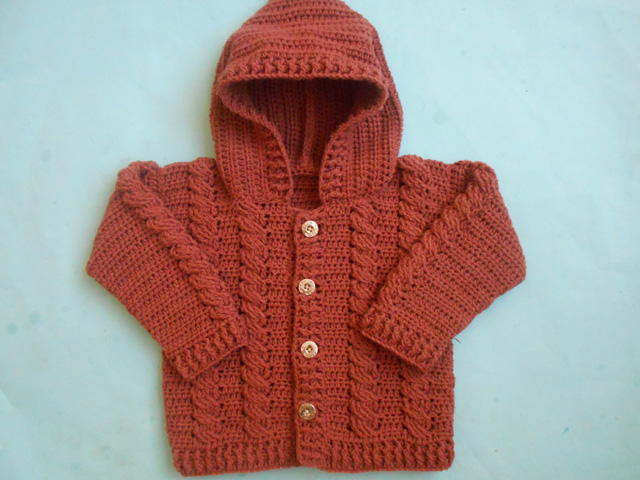 Baby Crochet Cabled Cardigan Sweater |