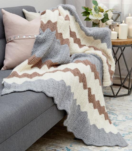 Calming Chevron Knit Blanket Pattern Allfreeknitting Com