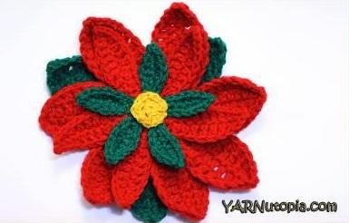 image about Poinsettia Pattern Printable identified as Crochet Poinsettia Flower Habit
