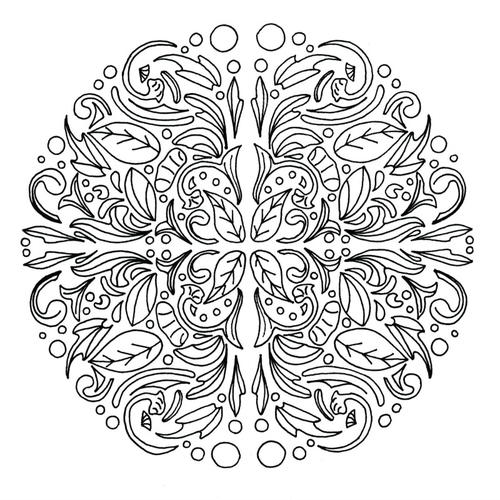 Swirling Leaves Relaxing Mandala