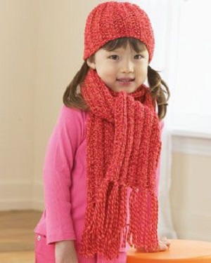 553c16885c72df Ribbed Hat and Scarf for Child Knitting Pattern