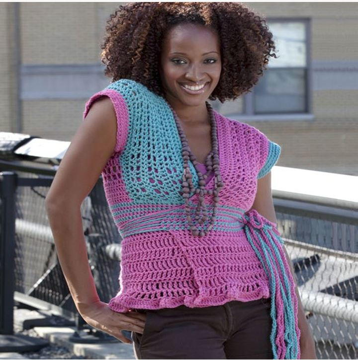 Pink and Blue Wrap-and-Go Sweater | AllFreeCrochet.com