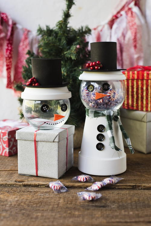 Holiday Snowman Candy Jar Decorating Idea