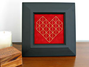Framed Metallic Stitched Heart