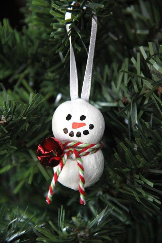 Hazelnut Snowman Ornament AllFreeChristmasCrafts
