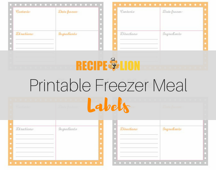 picture relating to Printable Freezer Labels identified as Printable Freezer Dinner Labels
