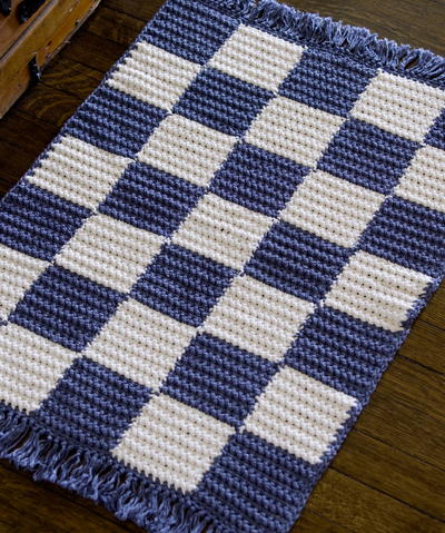 Blue and White Checkerboard Rug