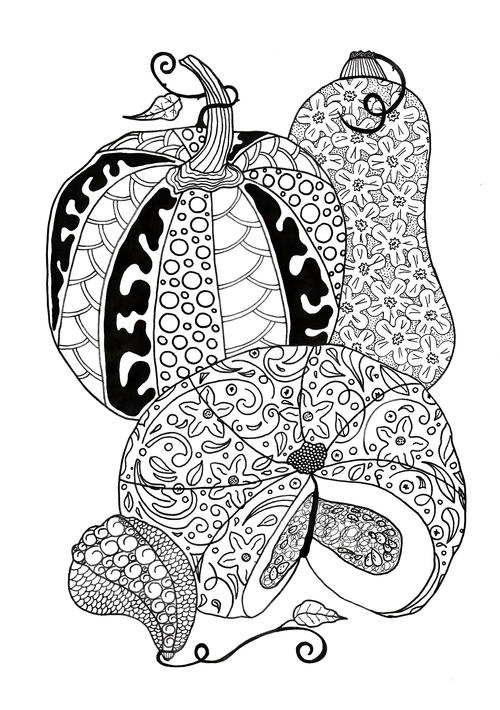 Pumpkin Feast Adult Coloring Page