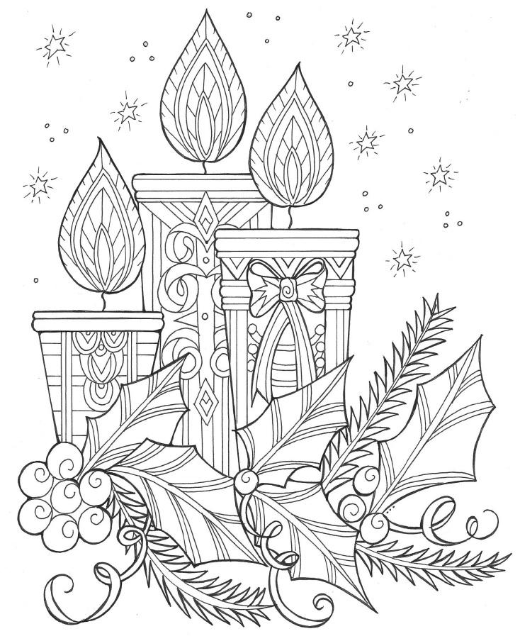 Enchanting Candles and Night Sky Christmas Coloring Page ...