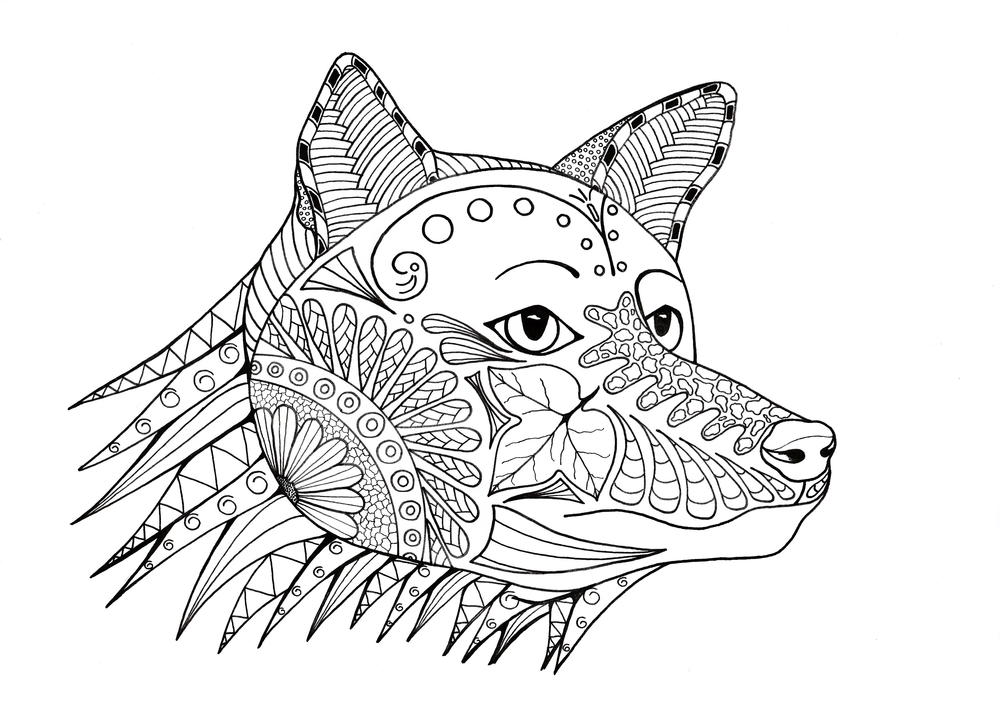 Fox-a-Hunting Adult Coloring Page | FaveCrafts.com