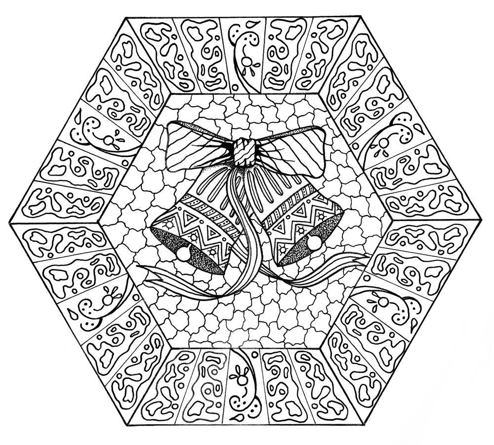 Jingle Bells Mandala Coloring Page | FaveCrafts.com