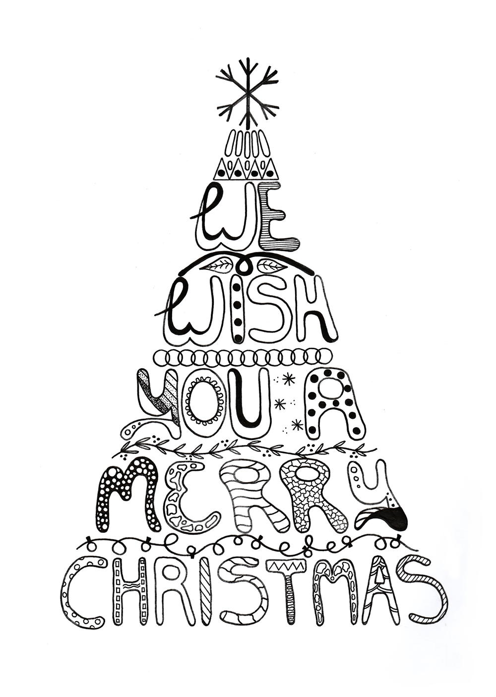 Merry Christmas Adult Coloring Page Allfreepapercrafts Com