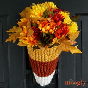 Candy Corn Crochet Door Basket