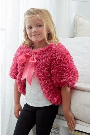 Pretty Pink Fashion Fur Shrug For Girls Allfreeknitting Com