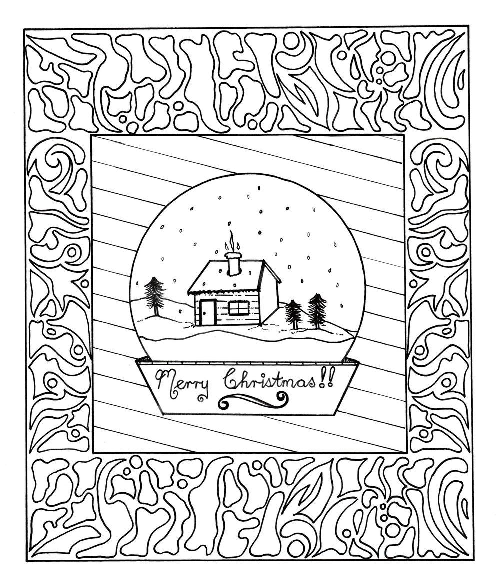 Framed Snow Globe Adult Coloring Page Favecrafts Com