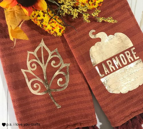 Fall Kitchen Towels with Heat Transfer Vinyl