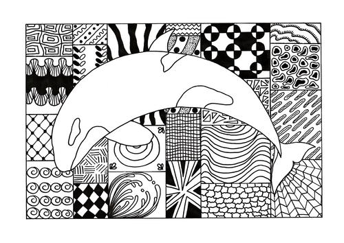 Zentangle Orca Adult Coloring Page
