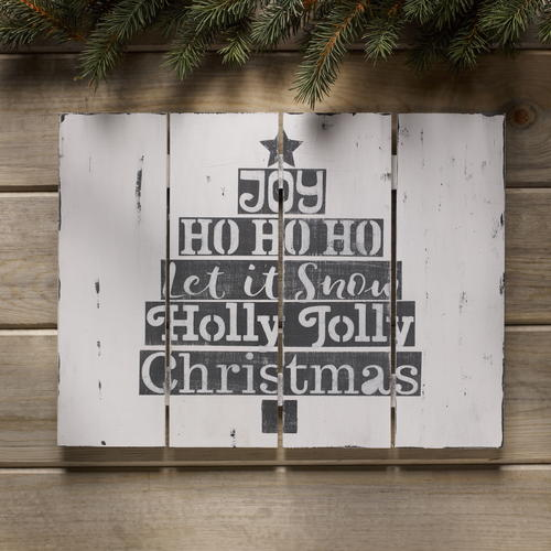 Joyful Stenciled Christmas Sign