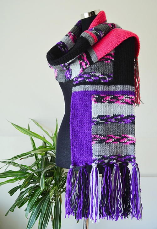 Blocked Colors Knit Scarf | AllFreeKnitting.com