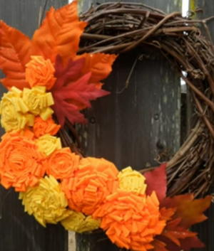 Aleene's Rolled Fabric Flowers on Grapevine Wreath