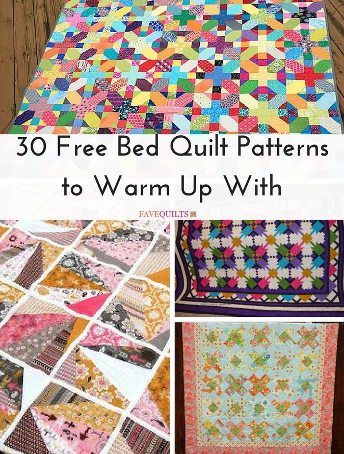 30 Free Bed Quilt Patterns to Warm Up With | FaveQuilts.com