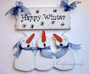 Happy Winter Snowman Door Sign