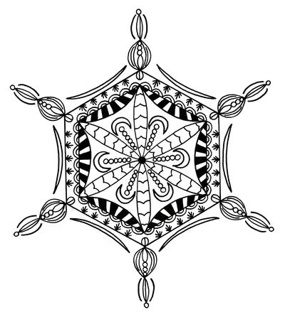 Bejeweled Snowflake Adult Coloring Page