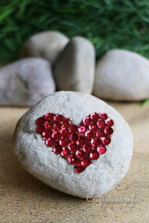 Sparkly Heart Stone Paper Weight