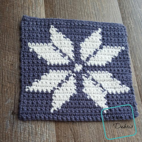"8"" Tapestry Snowflake Afghan Square"
