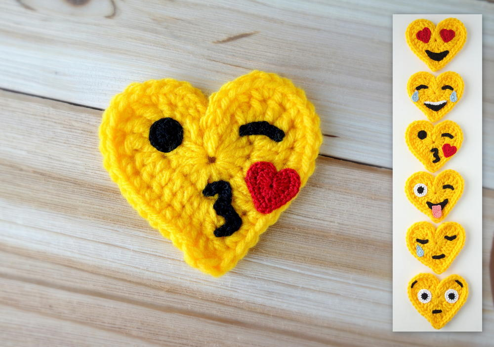 Crochet Emoji, Crazy Face Emoji, Free Crochet Pattern, Valentines ...   702x1000