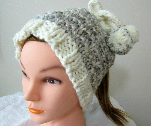 Two In One Ponytail Hat Knitting Pattern  9bc1948185d4