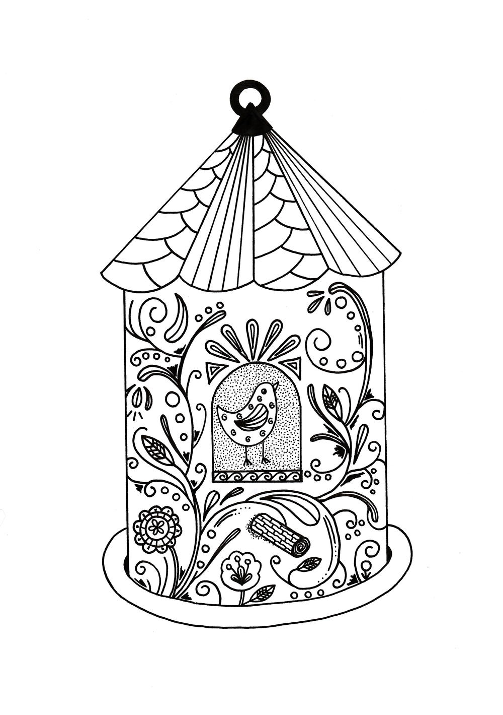 Whimsical bird house adult coloring page favecrafts com